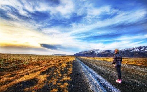 Amazing Beautiful Road and Teen Girl
