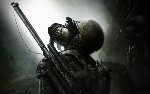 Metro Last Light Dark Tunnel and Artyom with Weapon