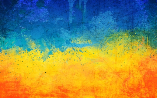 Painted Abstract Flag of Ukraine