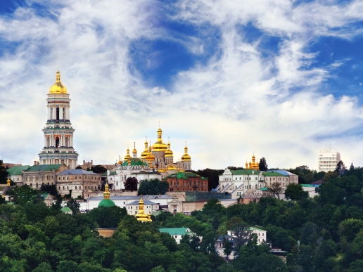 Church in Kiev and Green Forest Around It