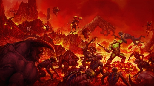 Fire in Hell Doom and Soldier with Shotgun