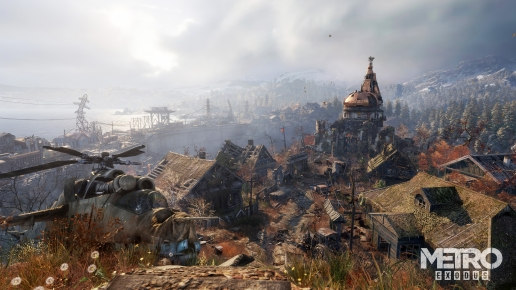 Metro Exodus Wonderful Dead Village with Mountains and Church