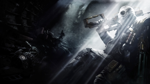 Metro Last Light Soldier with Weapon in Dark Tunnel